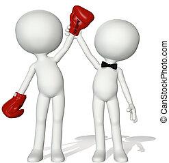 victoria, ganador, arriba, mano, boxeador, victoria, árbitro