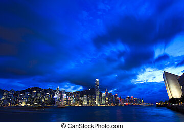 Victoria Harbor in Hong Kong at night