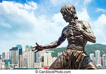 Bruce Lee statue - Victoria Harbour in Hong Kong, Bruce Lee...