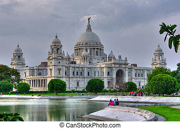 Victoria Memorial Hall, Queen's garden and lake, Calcutta, Kolkata in evening light