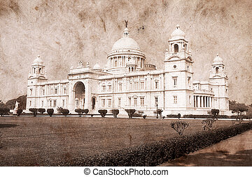 Victoria Memorial - Kolkata ( Calcutta ) - India. Artwork in retro style.