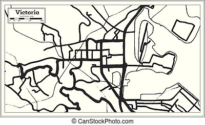 Victoria Seychelles City Map In Retro Style Outline Map