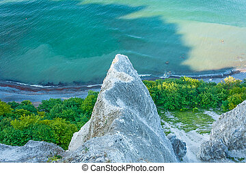 view from the Vicoria-Sicht, cliff coast near Koenigsstuhl, Island of Ruegen