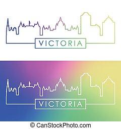 Victoria skyline. Colorful linear style. Editable vector ...