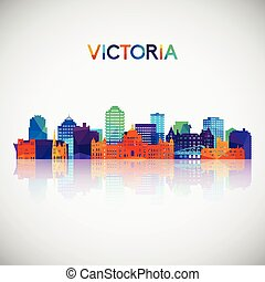 Victoria skyline silhouette in colorful geometric style.