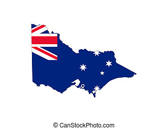 Victoria state flag and map - State flag of Victoria, ...