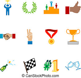 victoria, y, éxito, icono, conjunto, serie, diseñe elementos