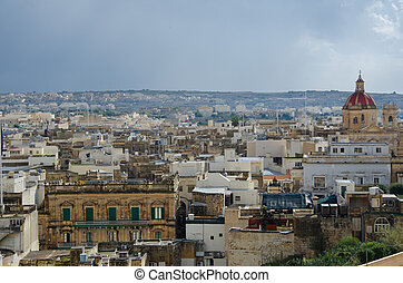 Victoria,GOZO -CIRCA OCTOBER, 2015- View over the city of Victoria (Rabat) at Gozo, the neighboring island of Malta