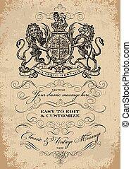 victorian, 矢量, 冠, 樣板, 裝飾品