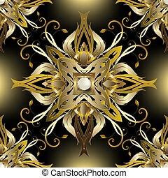 victorian, 繰り返し, 葉, pattern., 宝石類, スタイル, 表面, 白熱, 金, 金, バロック式, 型, ornament., 皇族, 花, seamless, ベクトル, 花, 装飾用である, パール, 背景。, 3d, 贅沢, バックグラウンド。