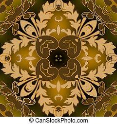 victorian, 金, seamless, デザイン, 優雅である, 華やか, 繰り返し, ornaments., flowers., スタイル, 背景。, 花, 秋, 葉が多い, ベクトル, バックグラウンド。, 白熱, pattern., 葉, 型, バロック式, ダマスク織