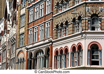Close up of Victorian building facade architecture
