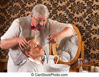 Victorian Barber cutting mustache - Barber cutting the...