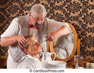 Victorian Barber cutting mustache - Barber cutting the...