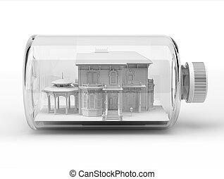 Victorian beautiful house, inside a bottle, on white background. Clipping path included.
