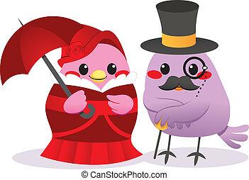 Victorian Birds - Cute married bird couple in Victorian...