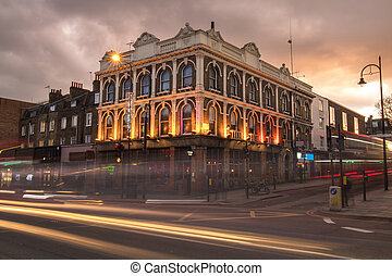 Victorian building with at dusk in London