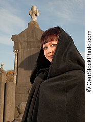 Victorian cape - Lady with victorian cape visiting a very...