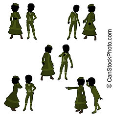 Victorian Children Art Illustration Silhouette