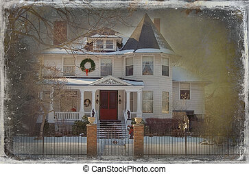 Victorian Christmas House - Old Victorian home decorated for...