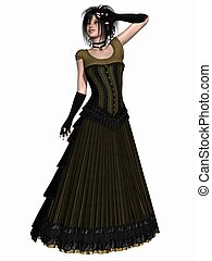 Victorian clothes - 3D Render of an beauty with victorian...