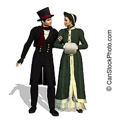 Victorian Couple - 3D render depicting a Victorian couple...