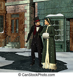 Victorian Couple in Winter - A Victorian couple stand...