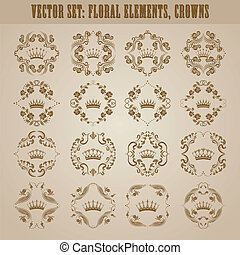 Victorian crown and decorative elements. - Ornate vector set...