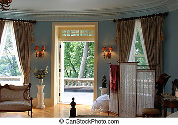 bedroom decorated in victorian style fashion