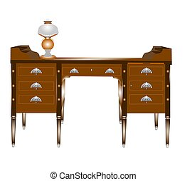 elegant workmanship on Victorian desk with oil lamp