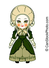 Victorian doll - Cute victorian fashion doll isolated over...