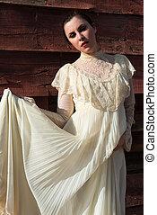 Victorian dress - Pretty brunette in a vintage Victorian...