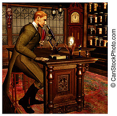 Victorian Era Scientist - Vintage scene of a Victorian or...