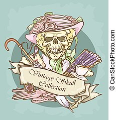 Victorian Era Skull Label - Victorian Era Skull label with...