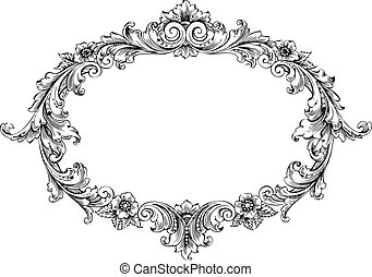 Vector art of victorian frame isolated on white