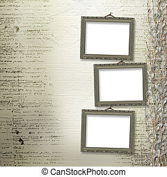 Victorian frames with bunch of willows on the abstract...