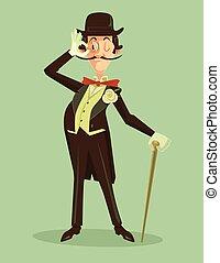 Victorian gentleman. Vintage britain gentleman in hat....