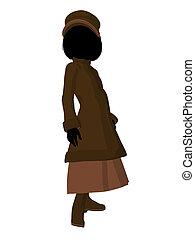 Victorian Girl Illustration Silhouette - Victorian girl...