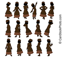 Victorian Girl Illustration - Victorian girl silhouette on a...
