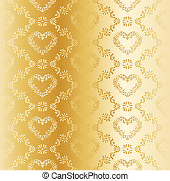 Victorian gold silk wedding pattern with hearts - elegant...