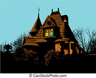 victorian house - Vector art of a victorian house with...