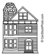 Victorian house outline.