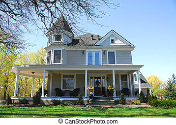 Victorian house in spring