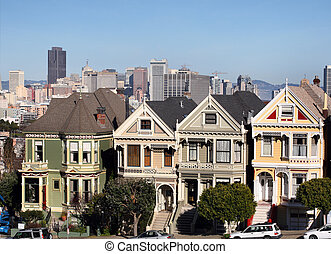 San Francisco - Victorian houses at Alamo Square in San...