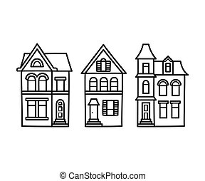 Victorian houses illustration - Old Victorian style detached...