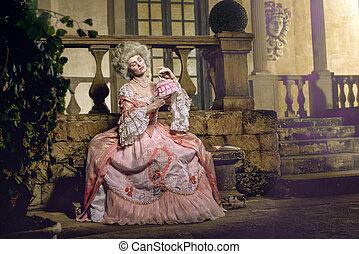 Victorian lady posing in vintage interior - Victorian lady....