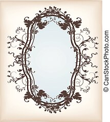 Victorian mirror with floral ornaments on an old paper...