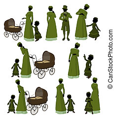 Victorian Mother And Child Art Illustration Silhouette -...