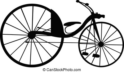 Victorian old retro bicycle  silhouette isolated on white background. Vector illustration