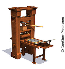 Victorian Printing Press - An antique victorian printing...